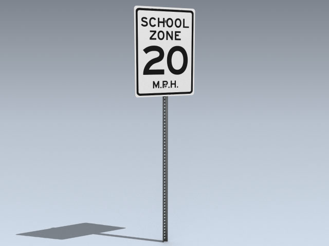 Road Sign (US School Zone)