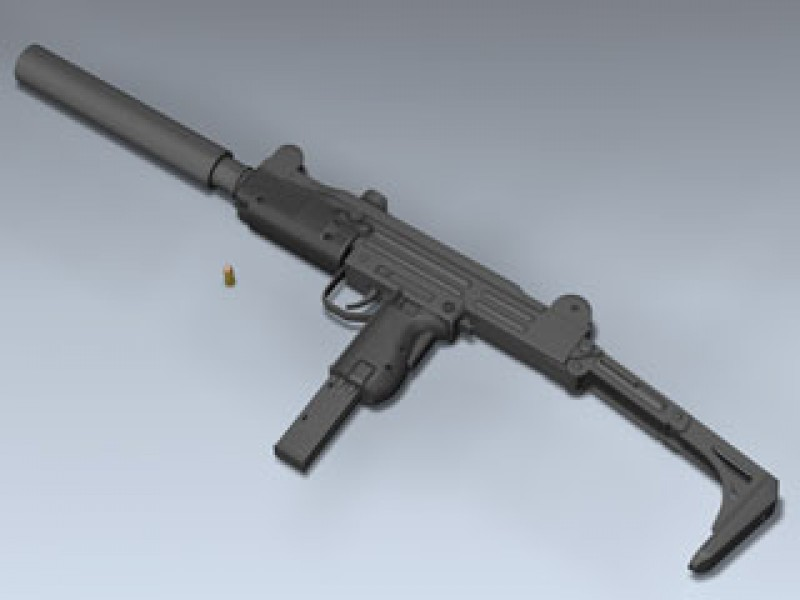 UZI with Mk 9 Silencer 3d Model by Mesh Factory